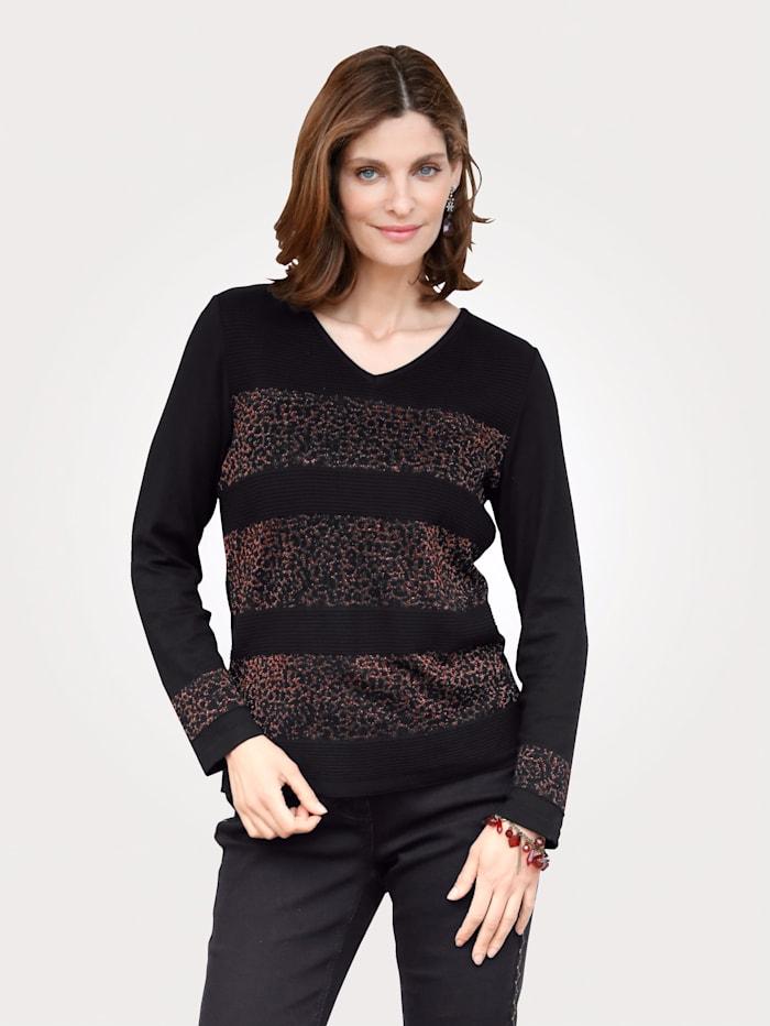MONA Pullover mit Animal-Muster, Schwarz/Kupferfarben