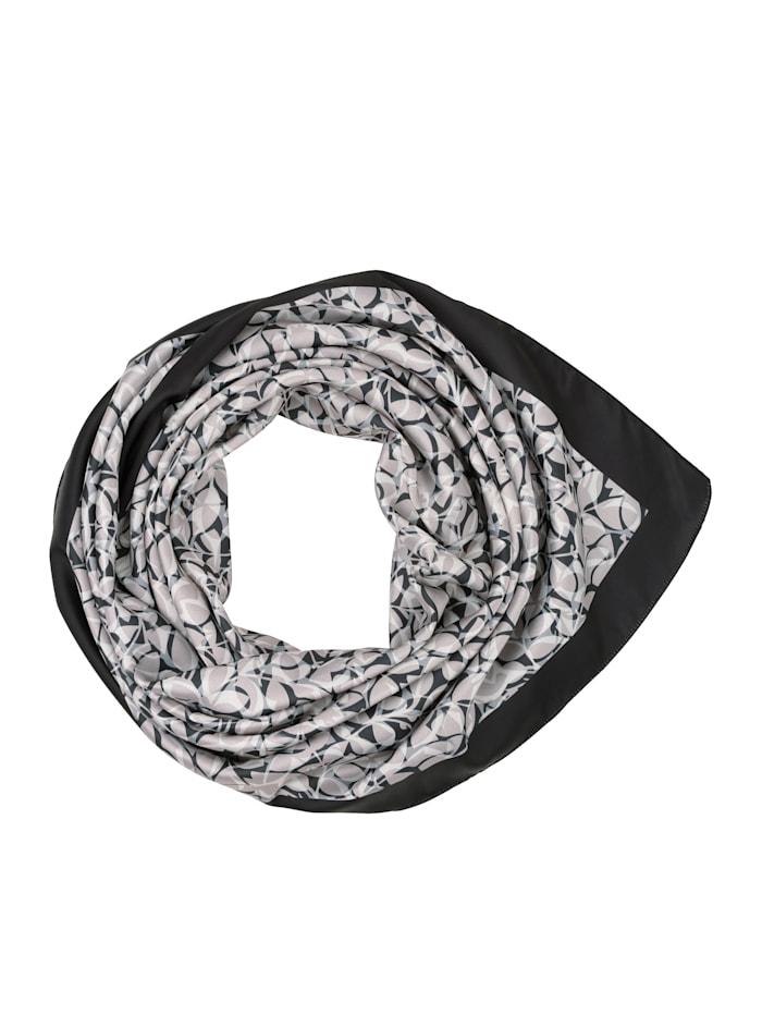 Paola Scarf med snyggt mönster, svart/grå/benvit