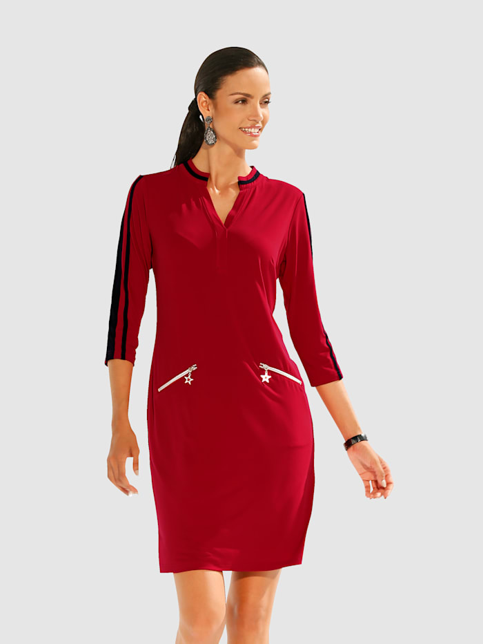 Jerseykleid mit Reißverschlusstaschen