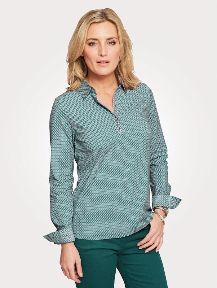Jersey-Bluse mit Silberplättchen-Zier