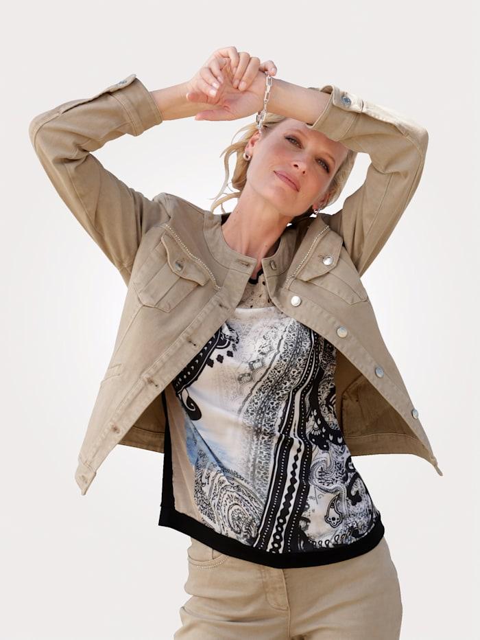 MONA Shirt mit dekorativer Lochstickerei, Beige/Schwarz/Weiß