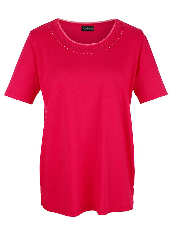 Shirt mit raffiniert dekoriertem Rundhalsausschnitt
