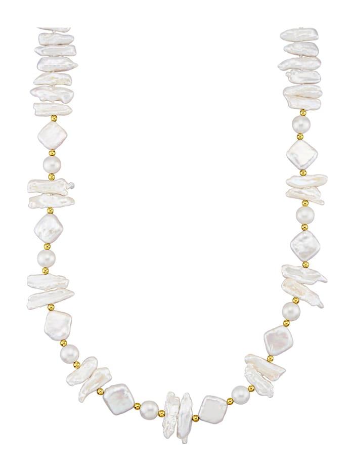 Halsband med odlade sötvattenspärlor, Vit