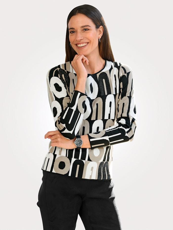 MONA Pullover aus modischem Jaquard-Strick, Schwarz/Beige/Ecru