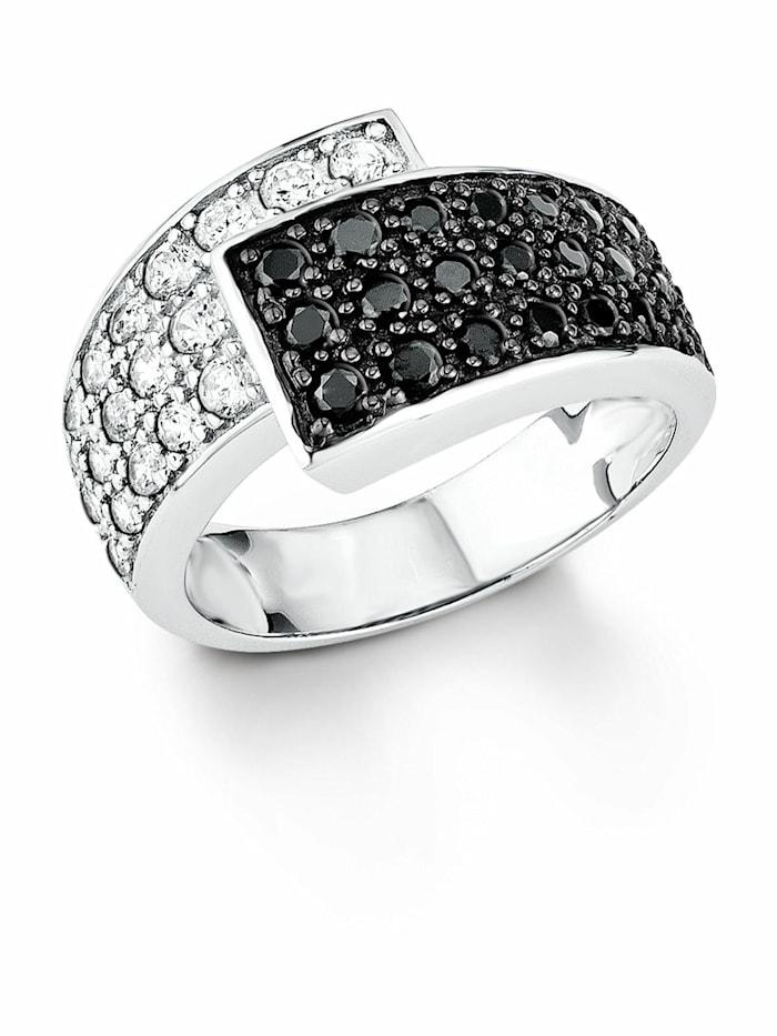 amor Ring für Damen, Sterling Silber 925, Zirkonia, Schwarz