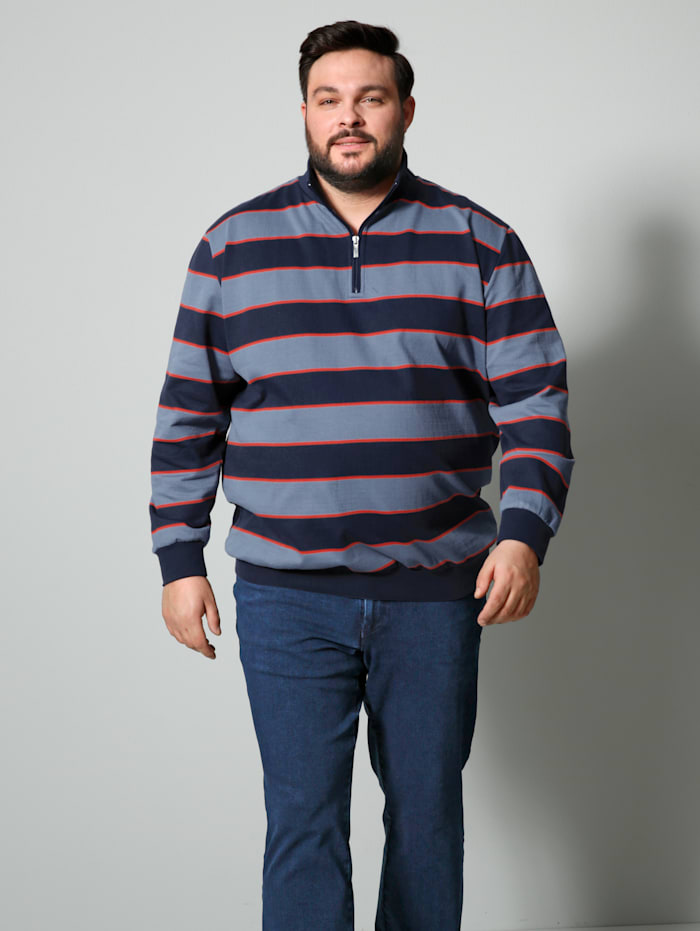 Men Plus Troyer Spezialschnitt, Rauchblau/Marineblau