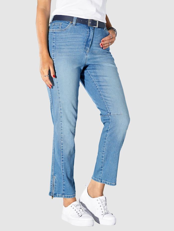 MIAMODA Jeans med glidelås i benkanten, Blue stone