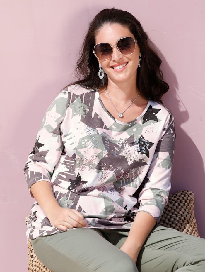 MIAMODA Shirt met klinknageltjes, Roze/Kaki/Wit