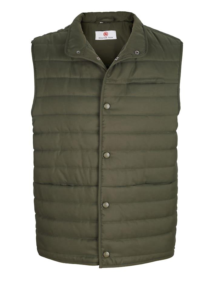 Boston Park Prešívaná vesta s patentnými gombíkmi, Olivová