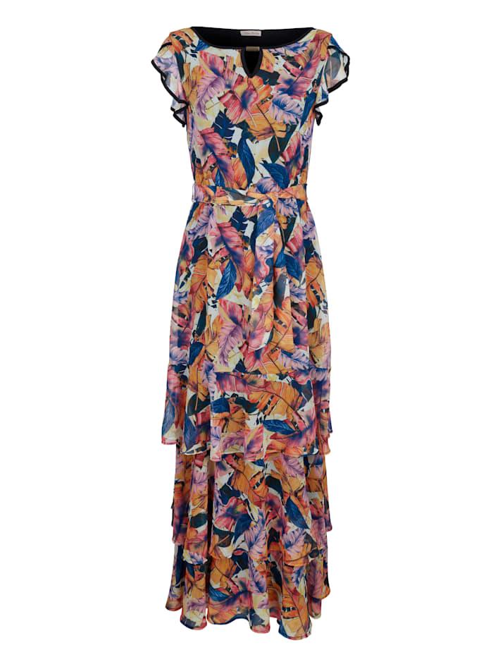 Alba Moda Strandkleid mit Volants, Blau-Bunt