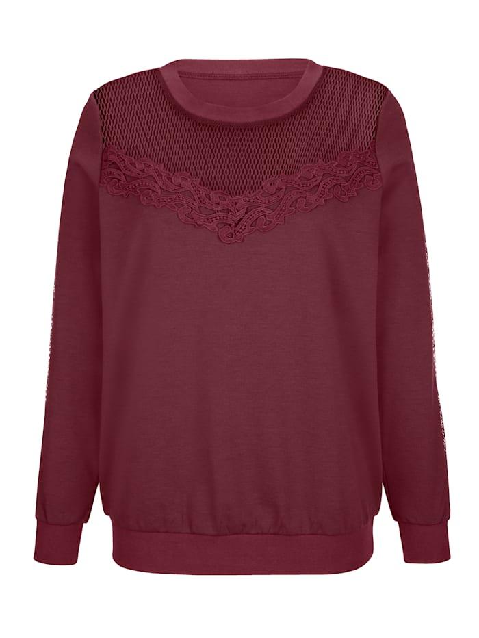 Sweatshirt mit Netzeinsatz am Dekolleté