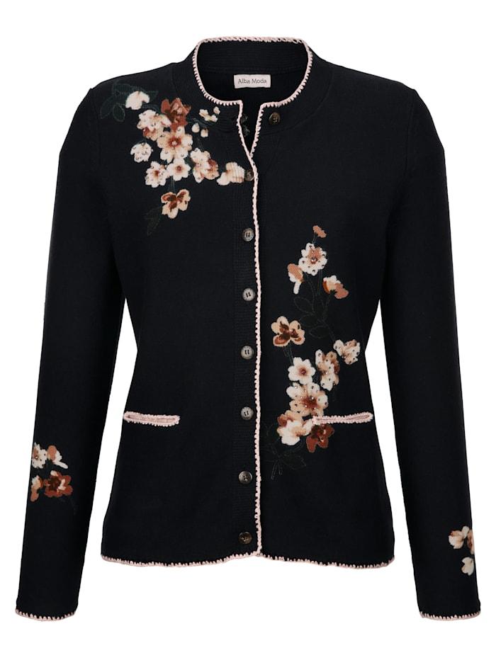 Alba Moda Vest met bloemenprint in harmonieuze kleuren rondom, Marine/Roze/Wit