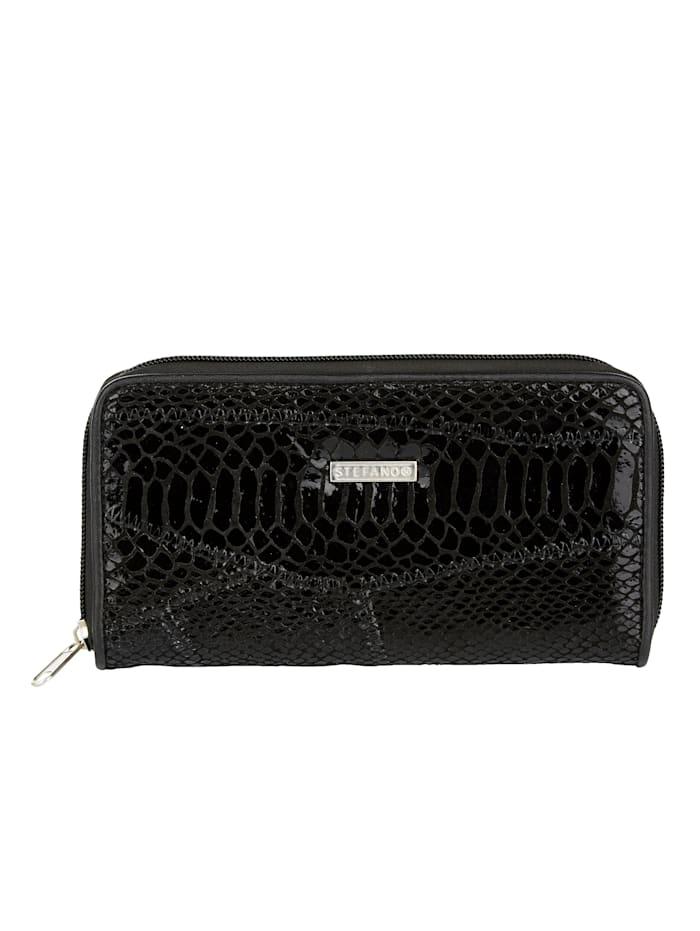 STEFANO Lommebok med klassisk slangepreg, svart