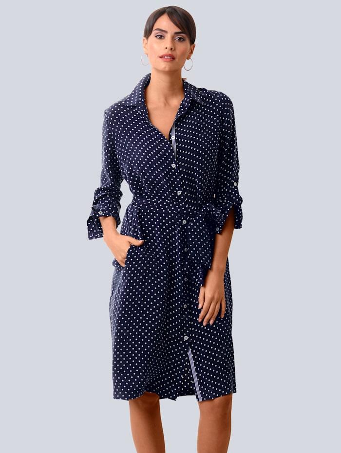 Alba Moda Kleid allover im Punkte-Dessin, Marineblau/Off-white