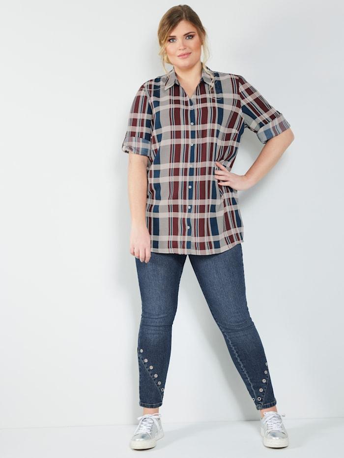MIAMODA Jeans mit dekorativen Ösen am Saum, Blue stone