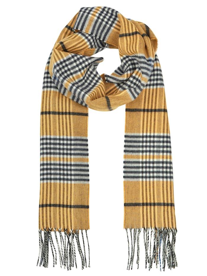 MONA Schal, gelb-marine-weiß