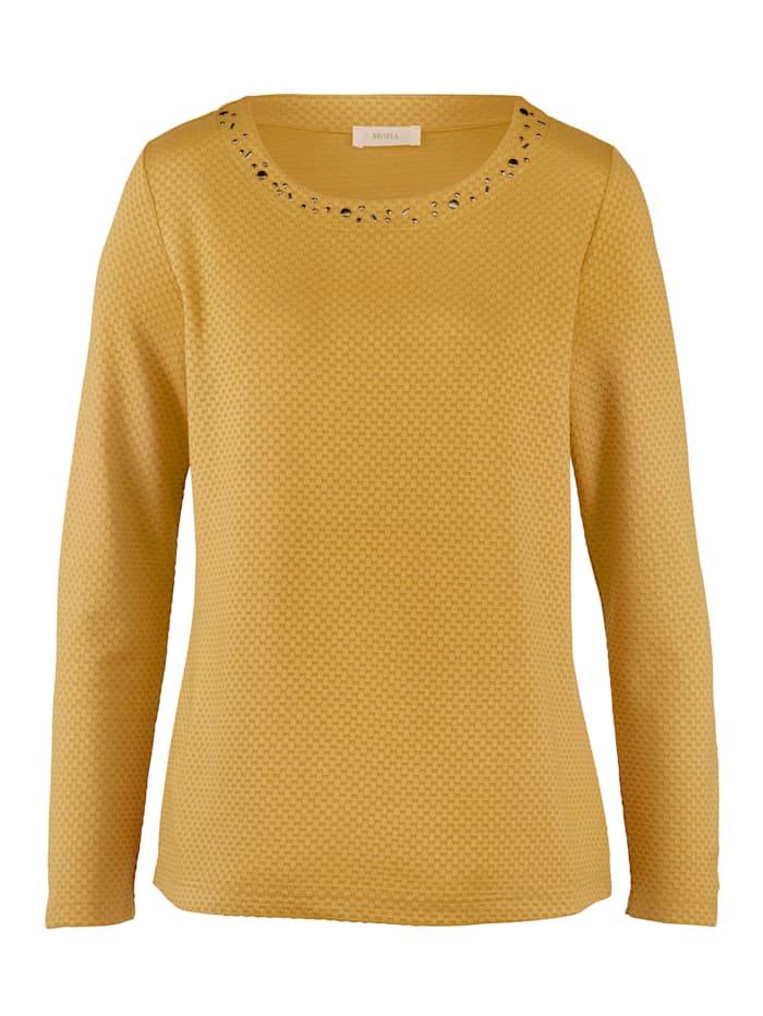 MONA Shirt in strukturierter Jaquard-Qualität, Ockergelb