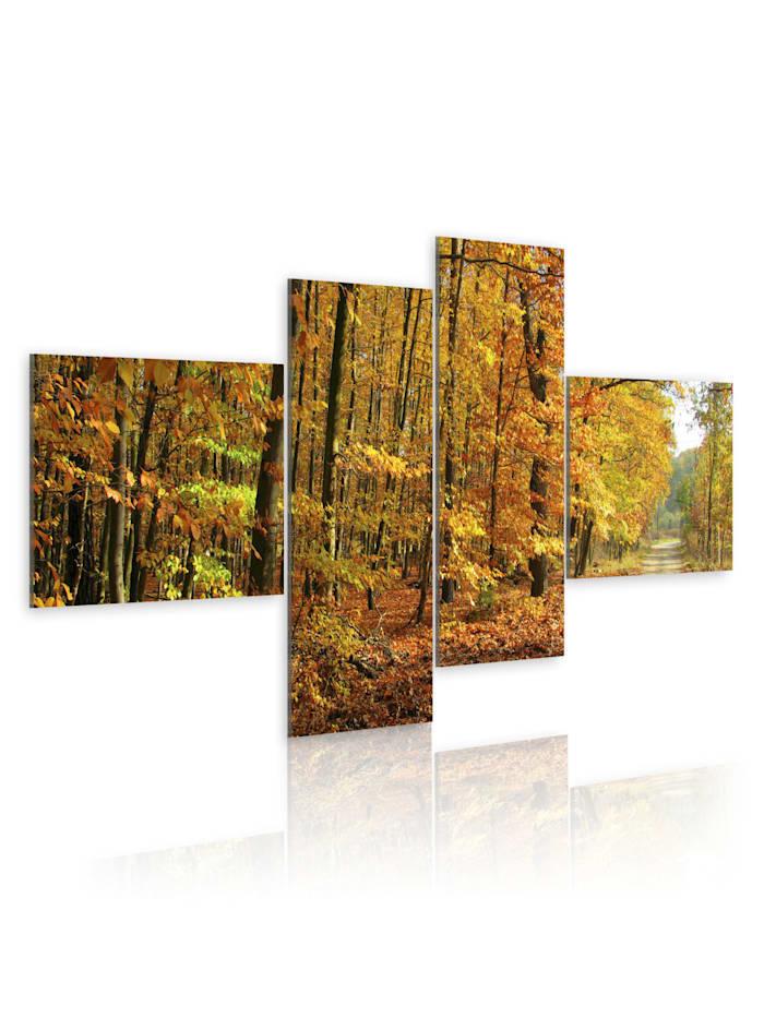 artgeist Wandbild Herbstliche Allee voller Licht, orange,black,yellow