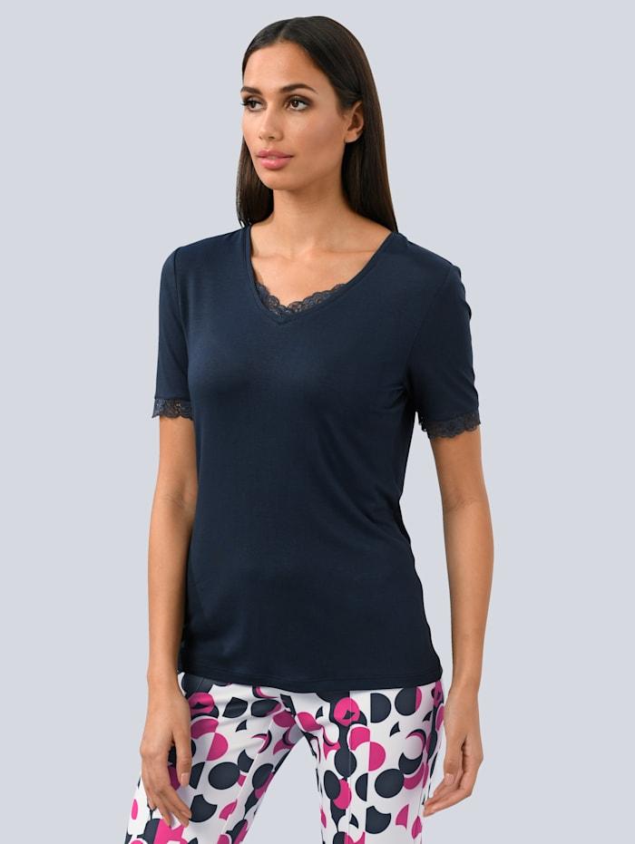 Alba Moda Shirt mit Spitzeneinsatz, Marineblau