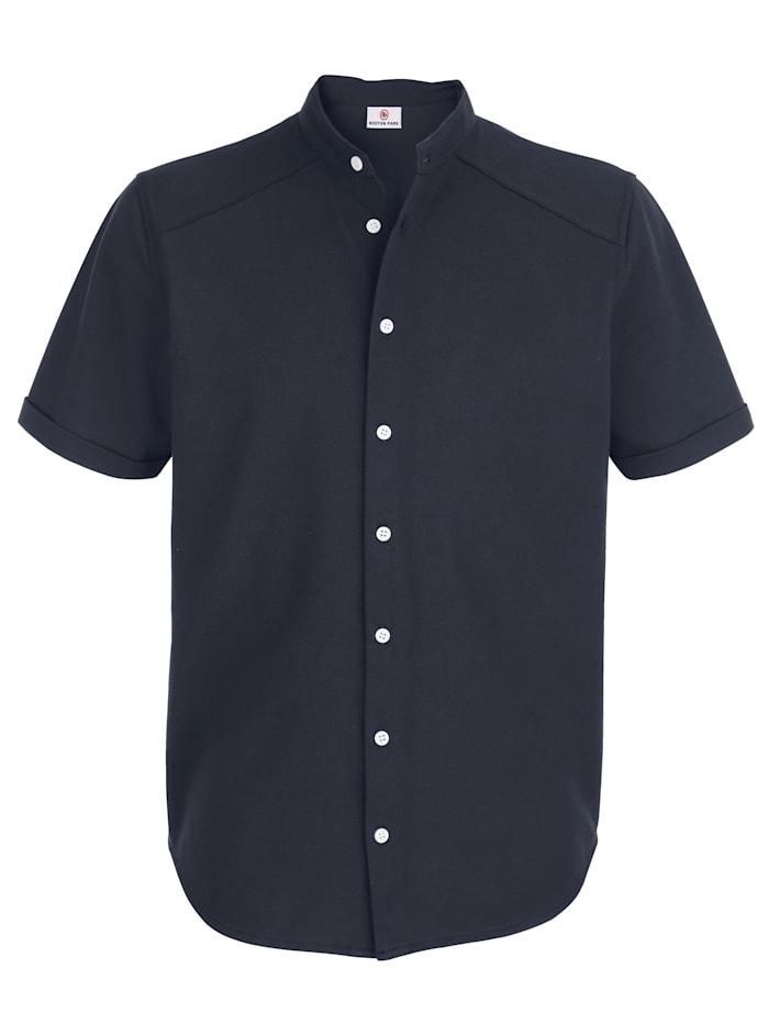 Jerseyhemd mit Stehkragen und durchgehender Knopfleiste