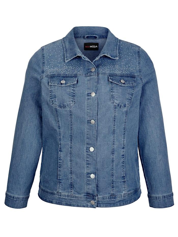 Veste jean à pierres décoratives
