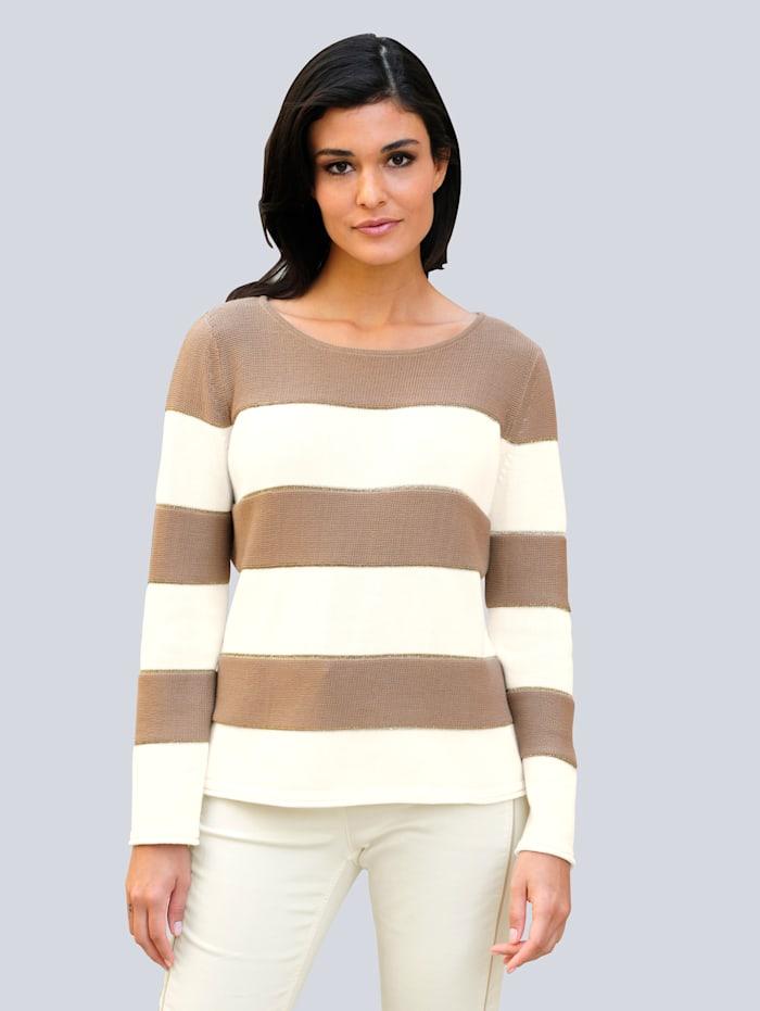 Alba Moda Pullover im Streifen-Dessin, Beige/Off-white