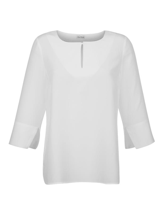 Alba Moda Bluse aus reiner Seide, Off-white