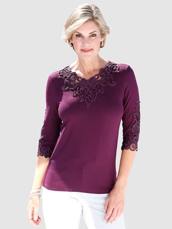 Paola Shirt mit Spitzenapplikation, Beere