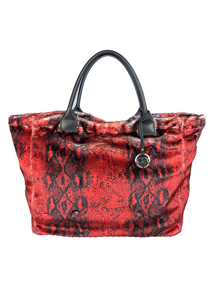 Collezione Alessandro XL Schultertasche Buckingham aus weichem Kunstpelz mit rotem Schlangenprint, rot