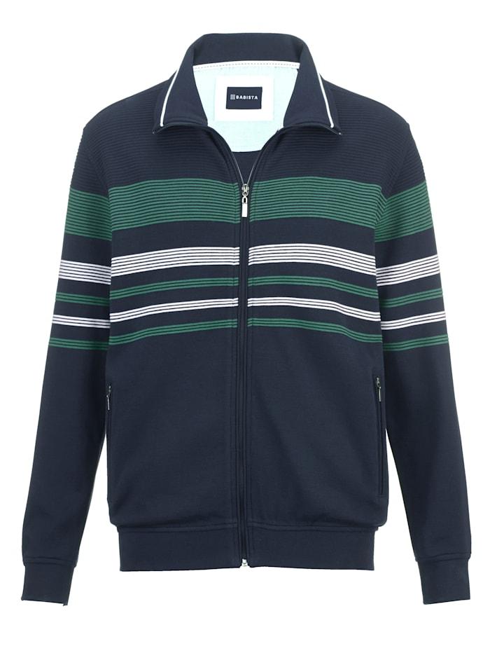 BABISTA Sweat bunda s žebrovanou strukturou, Námořnická/Zelená