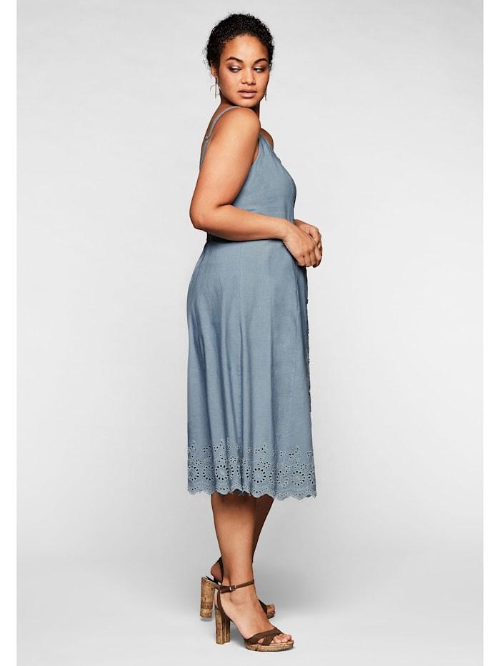 sheego by Joe Browns Kleid mit Zierknopfleiste und Lochstickerei
