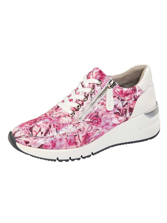 Liva Loop Sneakers avec laçage et glissière côté, Rose vif