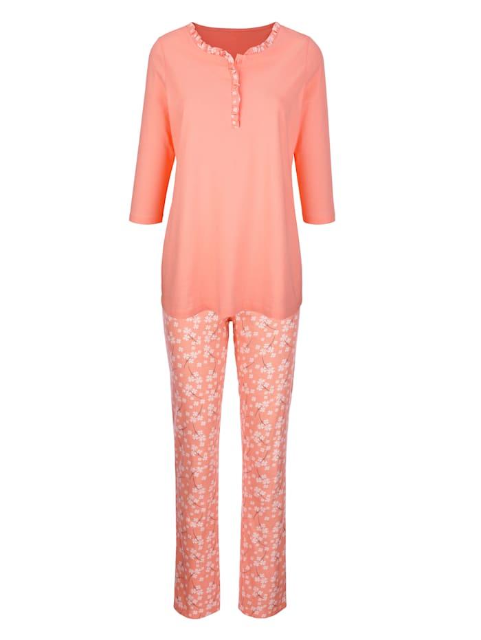 Harmony Schlafanzug mit süßen Rüschen, Apricot/Ecru
