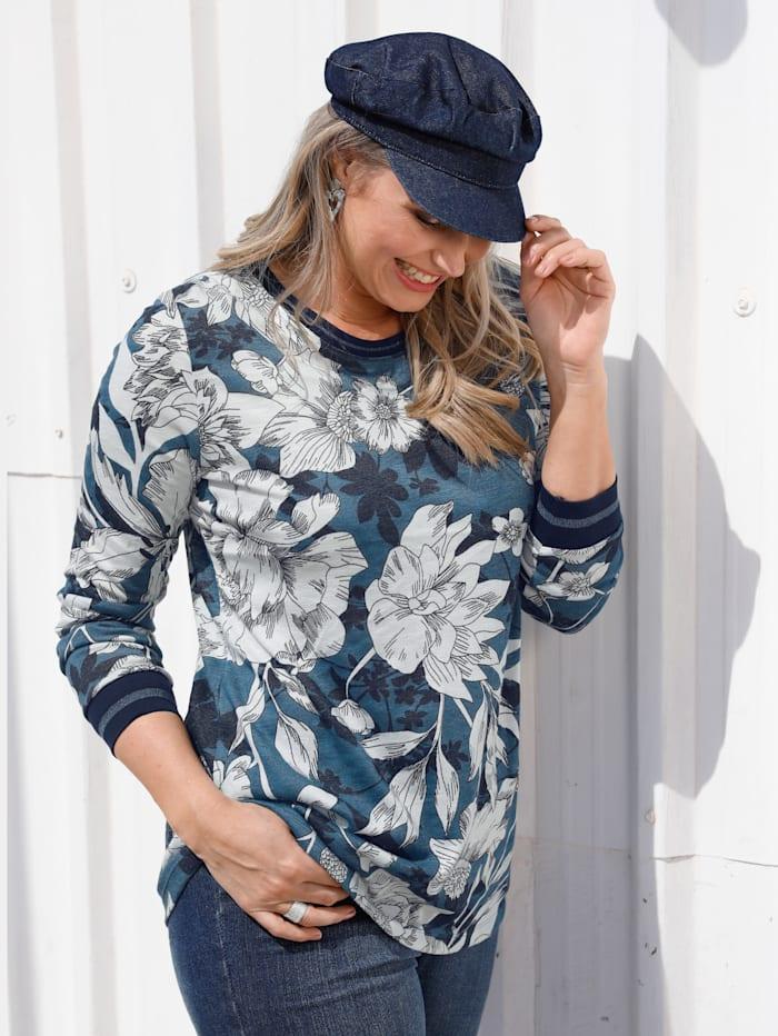 MIAMODA Shirt mit floralem Muster, Marineblau/Weiß