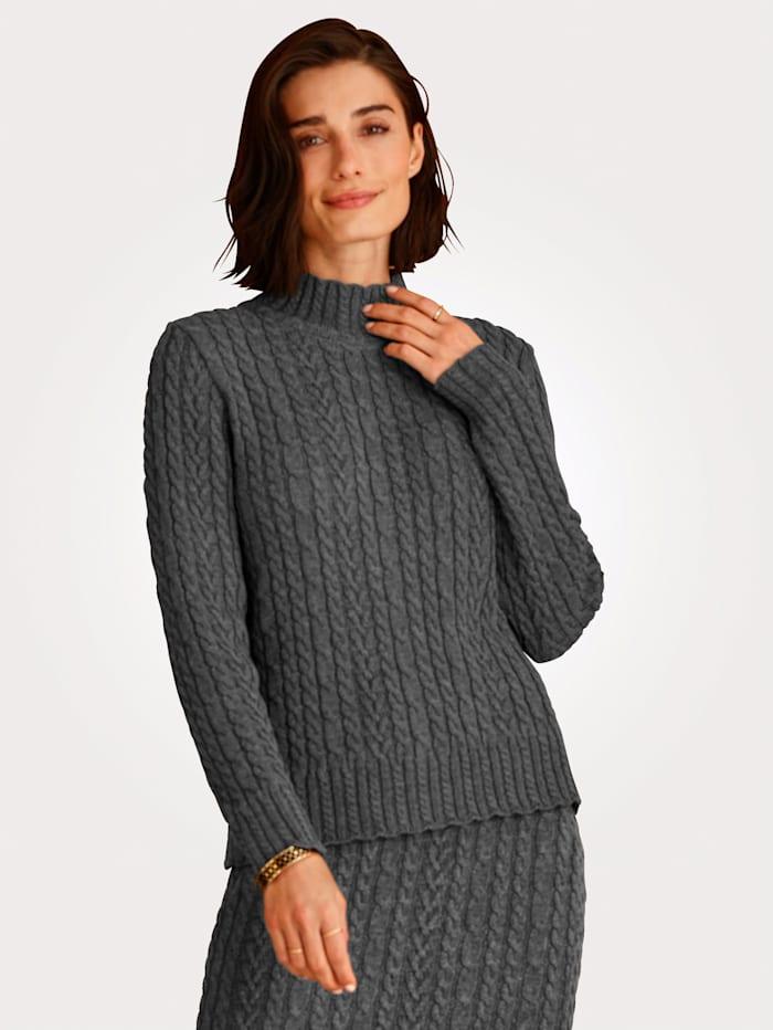 MONA Pullover mit raffiniertem Stehkragen, Grau