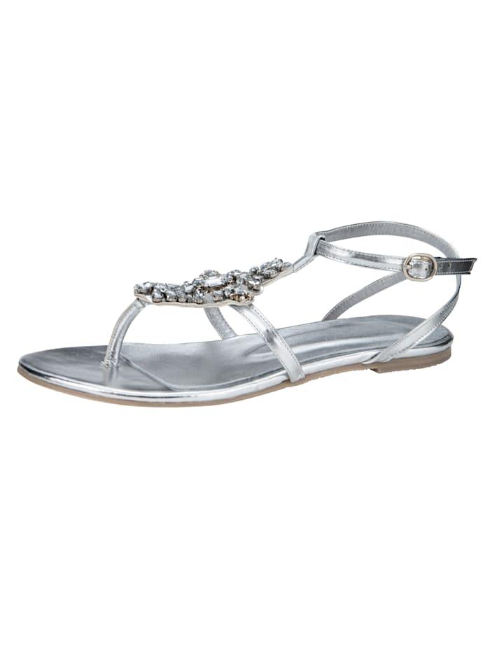 Sandale mit funkelnder Steinchen-Verzierung, Silberfarben