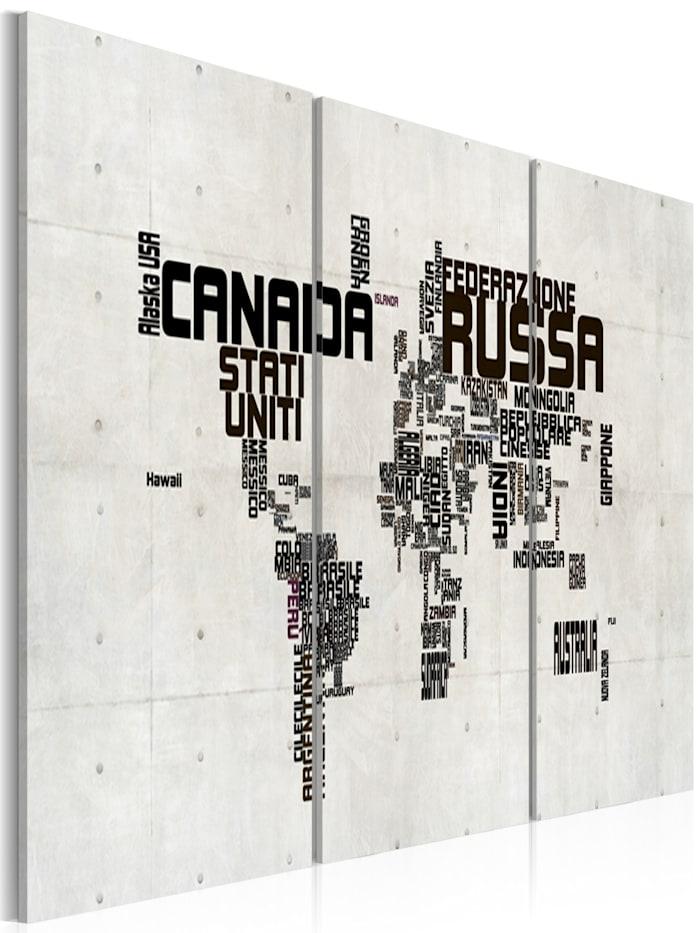 artgeist Wandbild Landkarte - italienisch, Schwarz,Weiß,Braun