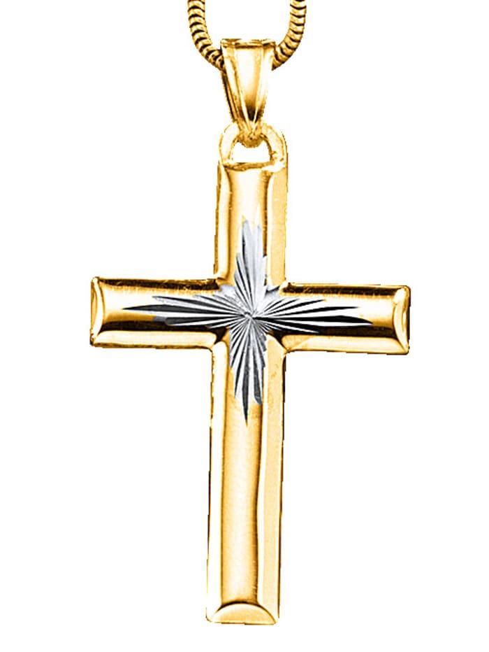 KLiNGEL Kreuz-Anhänger bicolor, Gelb