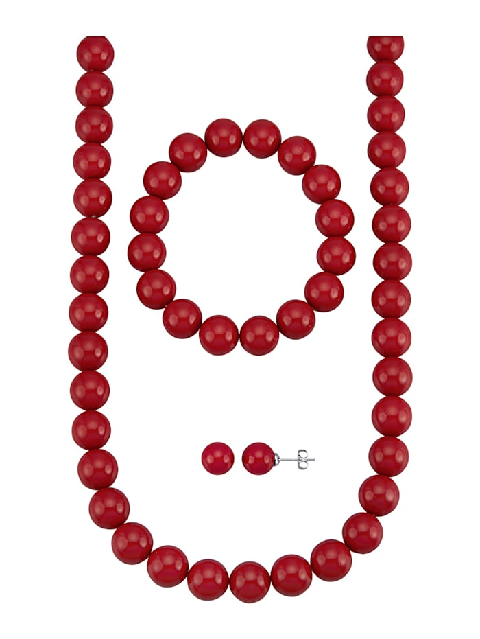 3-delige sieradenset van rode schelpparels, Rood