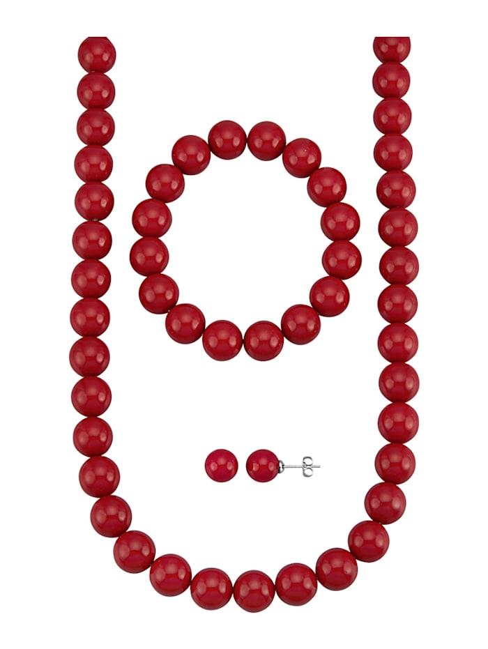 3tlg. Schmuck-Set aus roten Muschelkernperlen, Rot