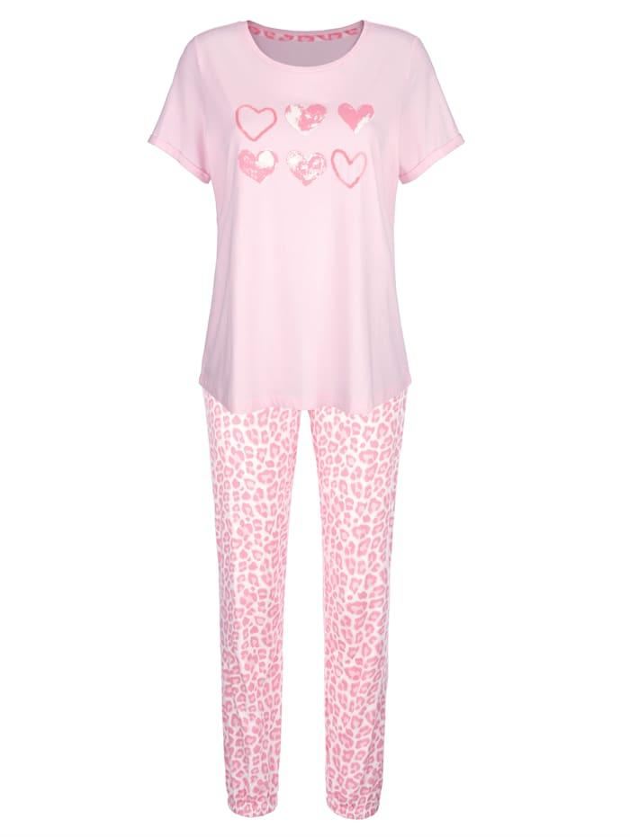 Simone Schlafanzug mit schmückenden Pailletten, Rosé/Ecru/Hellrosa