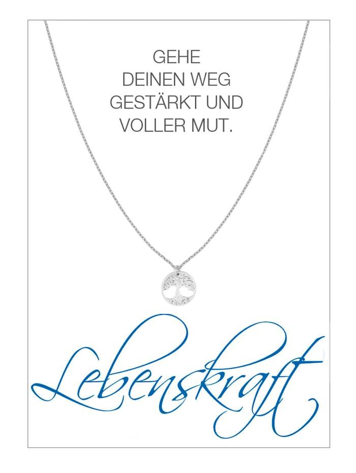 Herzkarte Lebensbaum-Collier, Silberfarben