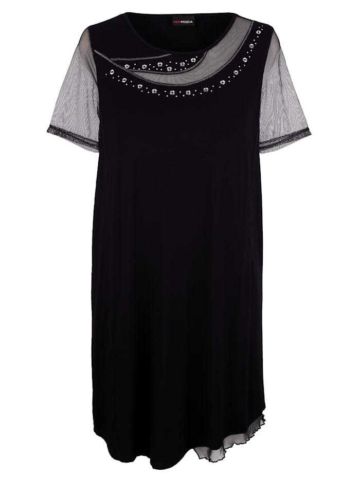 MIAMODA Šaty s mesh vsadkami, Černá