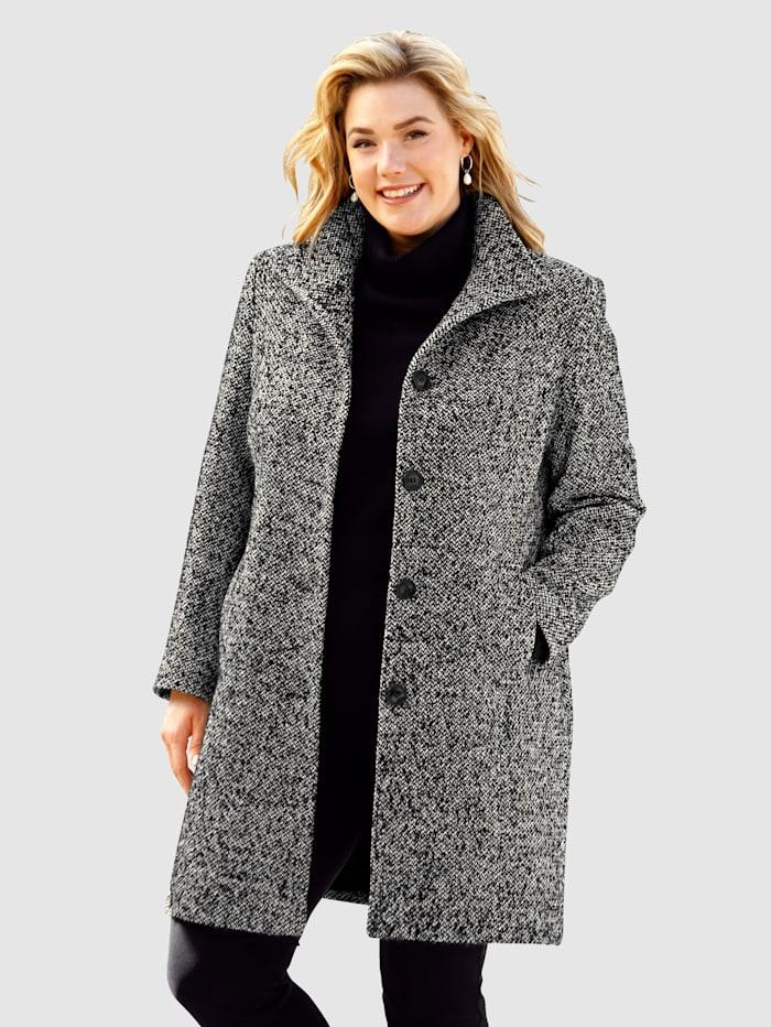 m. collection Manteau à maille bouclée contrastante, Noir/Blanc