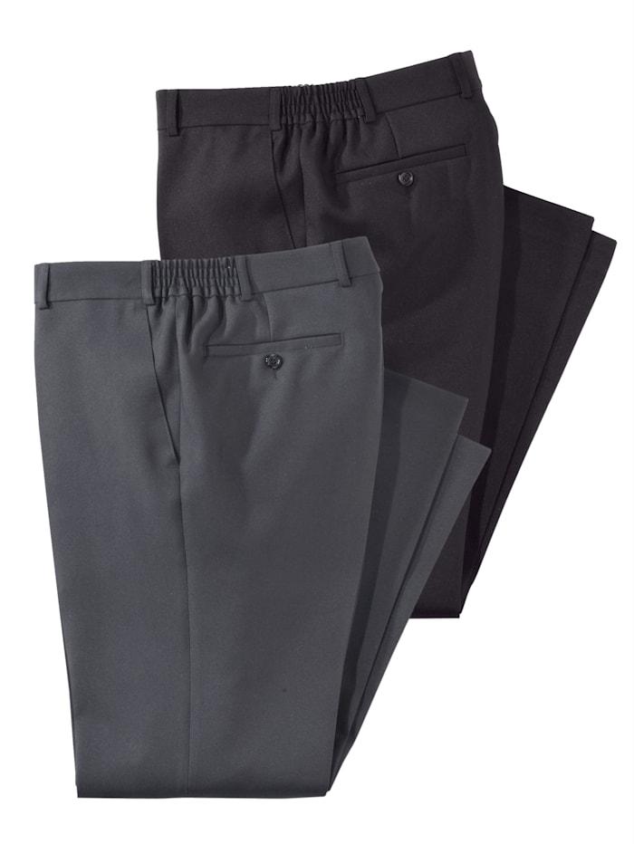 Men Plus Set van 2 broeken, Zwart/Grijs