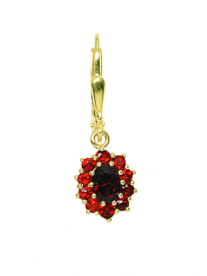 1001 Diamonds Damen Goldschmuck 333 Gold Ohrringe / Ohrhänger mit Granat, rot