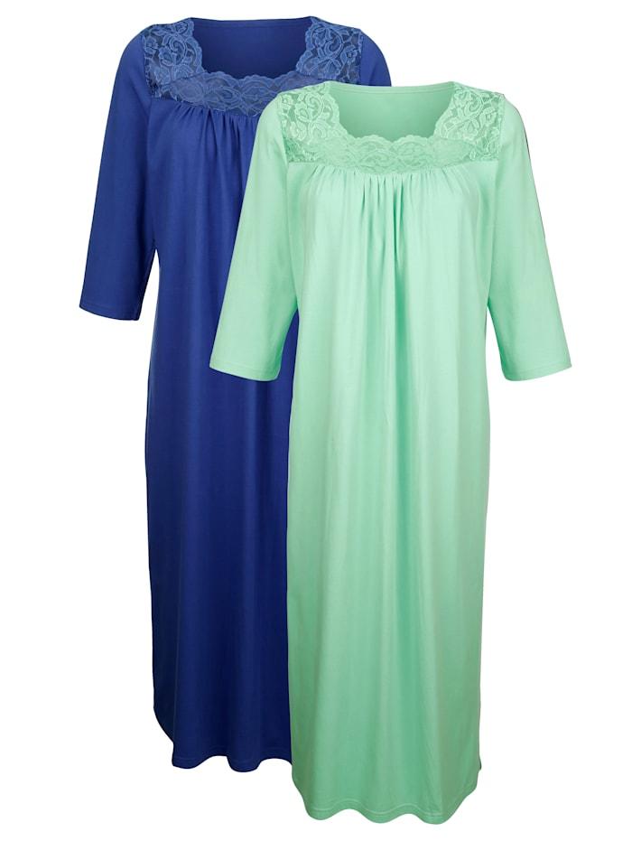 Harmony Chemises de nuit par lot de 2 aux jolis détails en dentelle, Marine/Vert clair