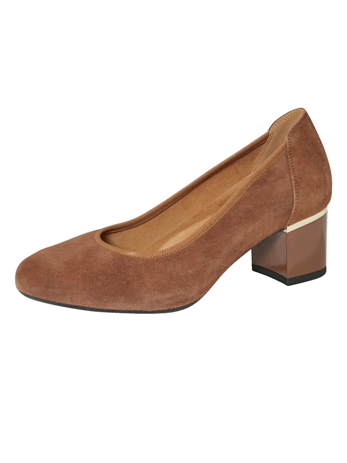 MONA Court shoes with glamorous heel, Cognac
