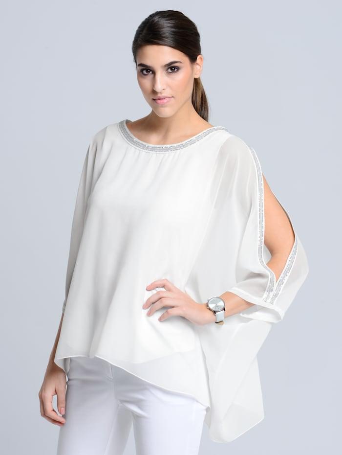 Alba Moda Bluse mit modischen Schlitzen am Arm, Off-white
