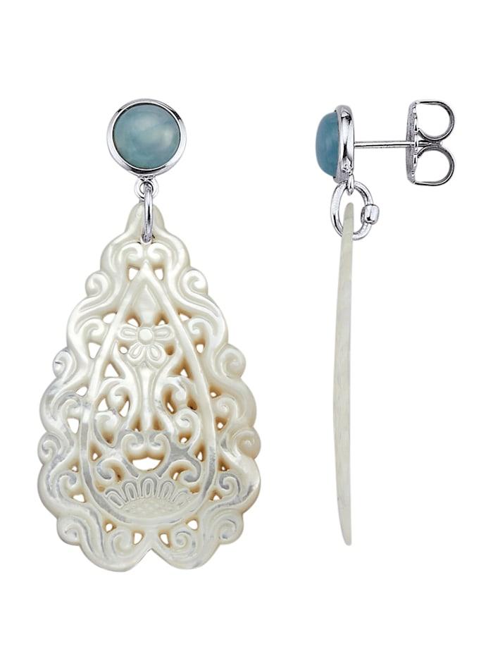 Diemer Farbstein Ohrringe mit Aquamarin und Perlmutt, Weiß